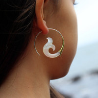 Fake Gauge shell Earrings - Hand made Tribal Organic Fake Piercings faux gauge shell naturally