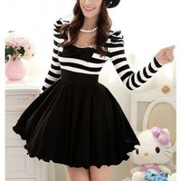NextEve.com: 2012 New Women's Winter Black And White Striped Bubble Long-Sleeved Dress With Embedded Chiffon Bowknot Decoration 12733892632