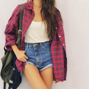 Vintage Mystery Oversize Flannel Shirt & High Waisted Shorts Vintage Outfit (All Sizes)