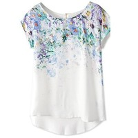 Zeagoo Fashion High Low Vintage Floral Print Short Sleeve Casual Top Blouse
