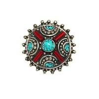 coral turquoise bohemian ring