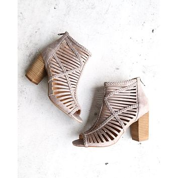 Not Rated - Love To All Woven Cutout Ankle Heeled Bootie in Grey