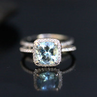 14k White Gold 8mm Aquamarine Cushion and Diamonds Engagement Ring and Wedding Band Set (Choose color and size options at checkout)