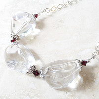 Chunky Necklace, Garnet Jewelry, Big and Bold, Crystal Clear Beaded Necklace