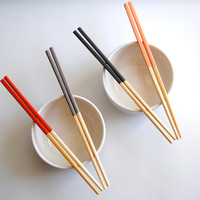 Sunset Collection - Orange, Coral, Gray - Set of 4 Paint Dipped Blonde Bamboo Chopsticks