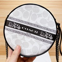 COACH New fashion letter pattern leather chain shoulder bag crossbody bag