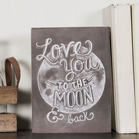 Love You to the Moon Box Sign
