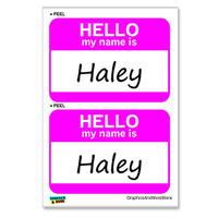 Haley Hello My Name Is - Sheet of 2 Stickers