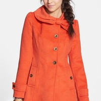 Tulle Bow Collar Textured Coat (Juniors) (Online Only)   Nordstrom