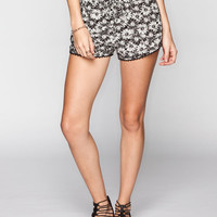Mimi Chica Daisy Print Womens Dolphin Shorts Black/White  In Sizes
