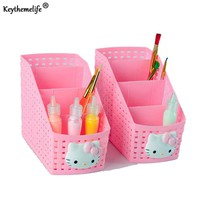 Keythemelife Hello Kitty Office Desktop Storage Box Multipurpose Pink Storage Basket Box Makeup Organizer Pen Holder 2C
