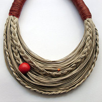 Cinnamon and Natural  Statement  Fiber Necklace