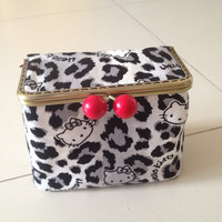Hello Kitty leopard print metal frame cosmetic box