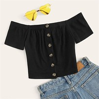 Off Shoulder Button Front Rib-Knit Crop Top Women Clothes Slim Fit Tee Boho Short Sleeve Solid Tshirt