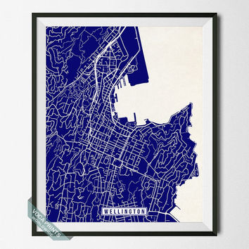 Wellington Print, New Zealand Poster, Wellington Poster, Wellington Map, New Zealand Print, New Zealand Map, Street Map, Wall Art