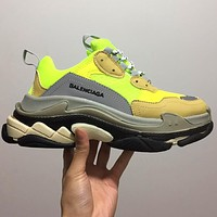 Bunchsun Balenciaga 17FW retro fashion shoes triple the increase in sports Fluorescent green yellow