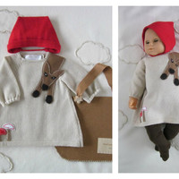 Knitted baby dress and cap. Little Red Riding Hood. 100% wool. MADE by ORDER.