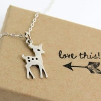 Itty Bitty Fawn Necklace, Baby Deer Charm on silver chain, small and tiny for fall