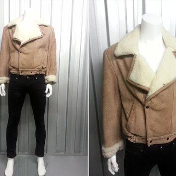 Vintage 80's Light Tan Suede Aviator Faux Shearling Jacket Mens Bomber Jacket Real Leather Fleece Lining Double Breasted Mens Leather Jacket