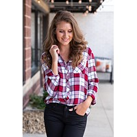 Barn Wood Plaid Top : Red & Blue