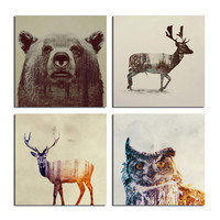 Forest  Animals Christmas Canvas Pictures With Framed Ready To Hang Wall Decor Modern Tableau Peinture Sur Toile Frame Gift