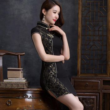 2017 New Summer Retro Hollow Out Lace Mesh Chinese Qipao Short Traditional Mandarin Collar Chinese Dresses Vestidos Cheongsam