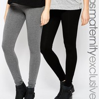 ASOS Maternity | ASOS Maternity Full Length Legging 2 Pack In Soft Touch Fabric SAVE 9% at ASOS
