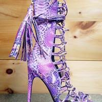 "Nelly Paris Purple Multi Snake Mid Calf Boots - 4.75"" Heels"