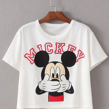 White Mickey Printed Crop T-shirt