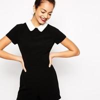 New Look | New Look Contrast Collar Romper at ASOS