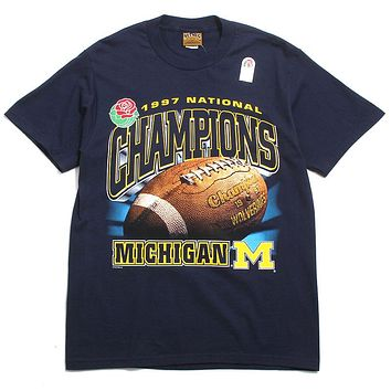 University of Michigan 1997 National Champions With Schedule Nutmeg DS T-Shirt Navy (Medium)