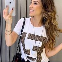 FENDI Summer Newest Trending Women Double F Letter Print Round Collar Top T-Shirt White