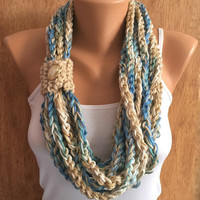 beachy colors hand crochet chain Infinity scarf - necklace scarf gift or for you