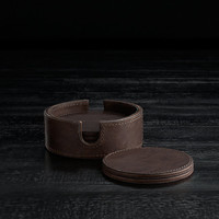 Italian Hand-Tanned Leather Round Coasters (Set of 6)