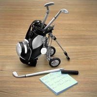 Golf Pens with Golf Bag Holder, 4-Piece Set (Engravable)