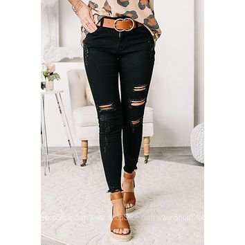 Go Off Mid Rise Ankle Skinny Jeans   Black