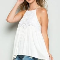 Lace Racerback Top - Off White
