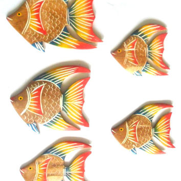 Set Of 5 Five Teak Wood Hand Carving Multi-Color Fish  Painted Handicrafts Fish Wall Hanging Art Home Decor Carved