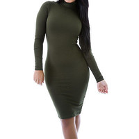 New Fitted Long Sleeve Turtleneck Stretch Bodycon Dress Size XL 2XL 3XL GT5332P
