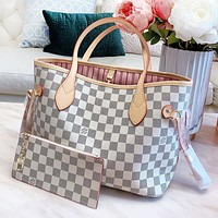 LV Louis Vuitton Women Shopping Bag White Tartan Leather Shoulder Bag Handbag Satchel Wallet Set Two Piece