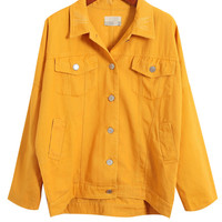 Notched Collar Button Up Long Sleeves Jacket With Flap Pockets