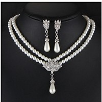 Items jewelry bride pearl crystal diamond short paragraph collarbone neck necklace set earrings Korean temperament