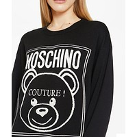 MOSCHINO Fashion Women Cute Bear Embroidery Round Collar Sweatshirt Sweater Top