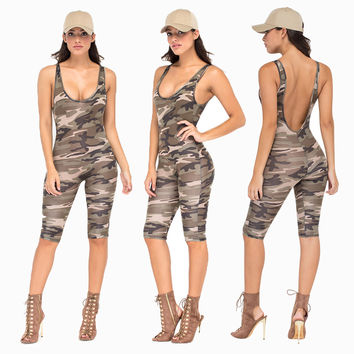 Gray Camouflage Backless Midi Jumpsuit