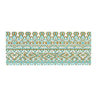 "Pom Graphic Design ""Mint & Gold Tribals"" Teal Brown Bed Runner"