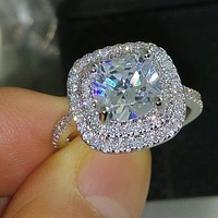 SALE  A Perfect 3.4CT Cushion Cut Double Halo Russian Lab Diamond Engagement Ring