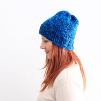 Slouchy beanie hat, hand knit hat, blue beanie, blue melange beanie, unisex chunky hat, ready to ship