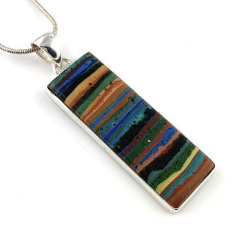 Rainbow Calcilica Sterling Silver Oblong Pendant