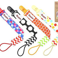 **SALE** Pacifier Clip 4 Pack by Akeekah Unique 2 Sided Unisex Design Pacifier Holder for Boy and Girl Binky Leash with Plastic Clip Washable Perfect Baby Shower Gift