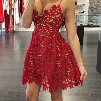 Spaghetti Straps Red Homecoming Dress